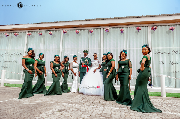 Nigerian military wedding couple with bridesmaids Tosin and Hassan Herald Studeos LoveWeddingsNG