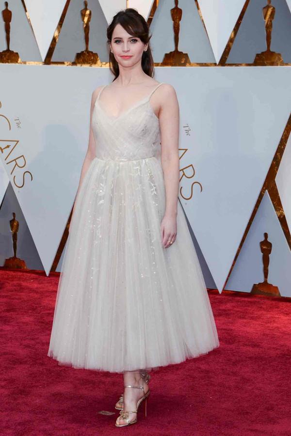 Oscars 2017 - Felicity Jones in Dior Bridal Inspiration LoveWeddingsNG