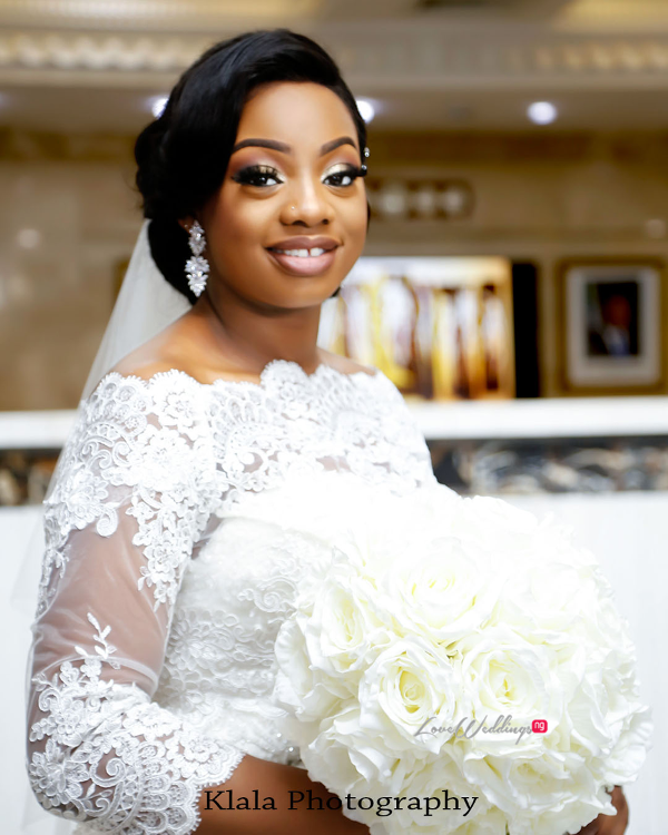 Nigerian Bride and bouquet The Fadinas Bridal Party Klala Photography LoveWeddingsNG