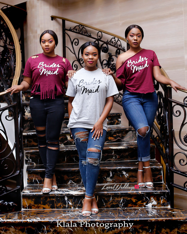 Nigerian Bridesmaids in Tee No robe The Fadinas Bridal Party Klala Photography LoveWeddingsNG