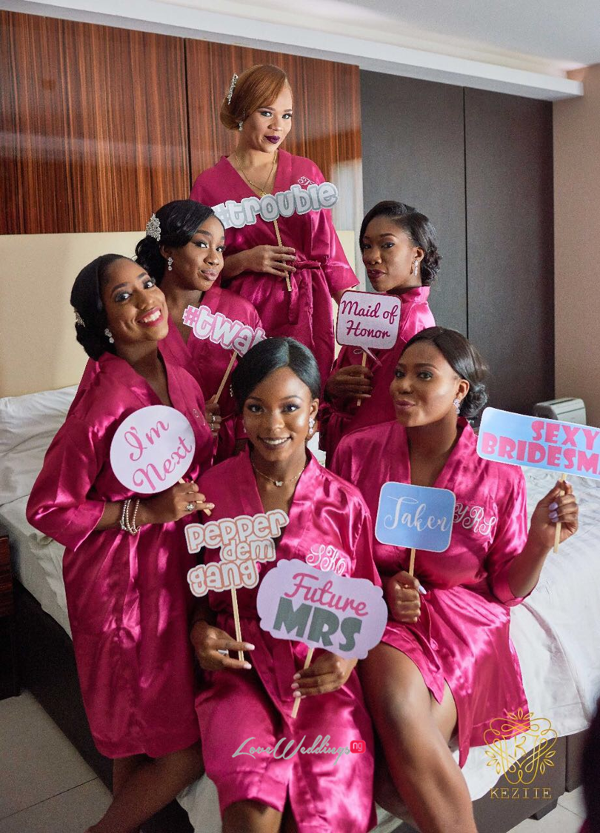 Bride and Bridesmaids in Robes Wanni Fuga and Sam Wabara LoveWeddingsNG