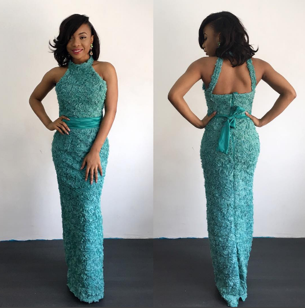 Mo Cheddah in The Simi Dress in teal Nigerian Wedding Guest Inspiration LoveWeddingsNG