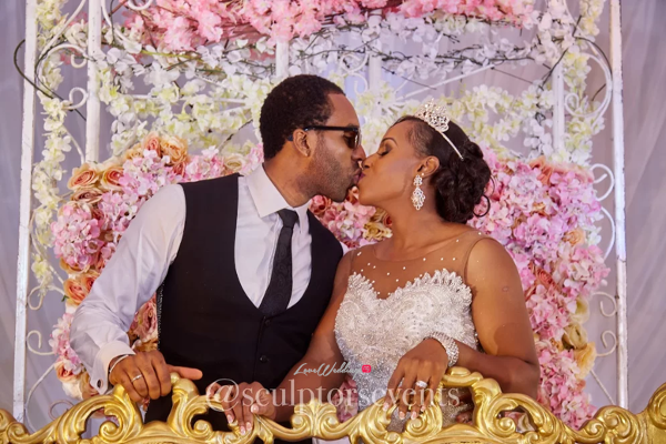 Nigerian Bride and Groom Seno and Patrick Kiss Sculptors Events LoveWeddingsNG 1