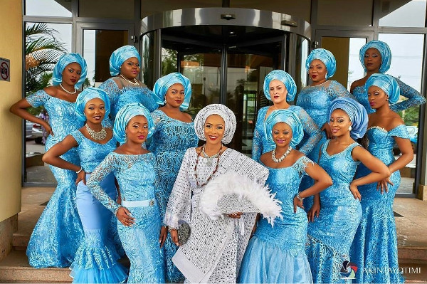 Nigerian Traditional Bride and Aso Ebi Ladies Akintayotimi-LoveWeddingsNG