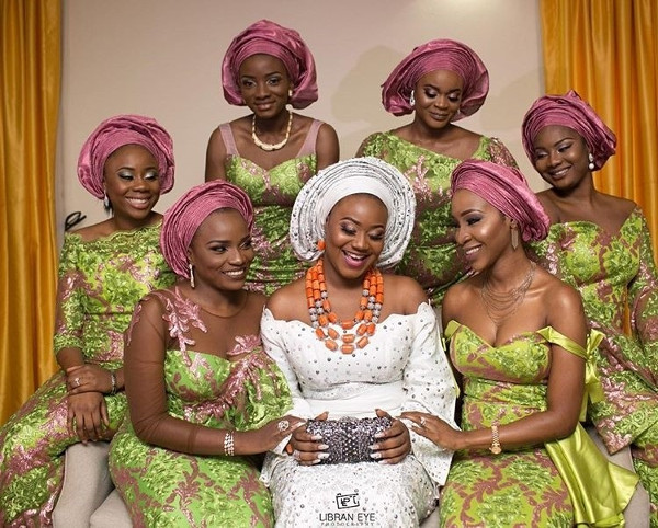 Nigerian Traditional Bride and Aso Ebi Ladies #Deric17 Libran Eye Photography LoveWeddingsNG