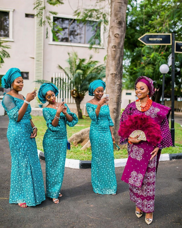 Nigerian Traditional Bride and Aso Ebi Ladies - #Twabz17 Wanni Fuga Traditional Wedding-JGates Visuals LoveWeddingsNG