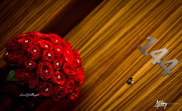 Nigerian Vow Renewal Wedding Red Bridal Bouquet Fatou and Obi LoveWeddingsNG