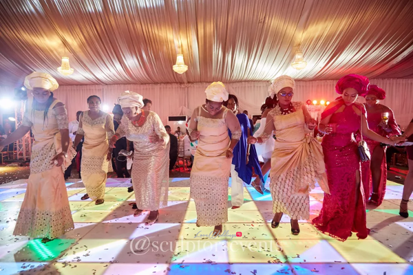 Nigerian Wedding Guests Dance Time Seno and Patrick Reception Sculptors Events LoveWeddingsNG 1