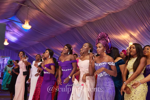 Nigerian Wedding Seno and Patrick Bouquet Toss Sculptors Events LoveWeddingsNG