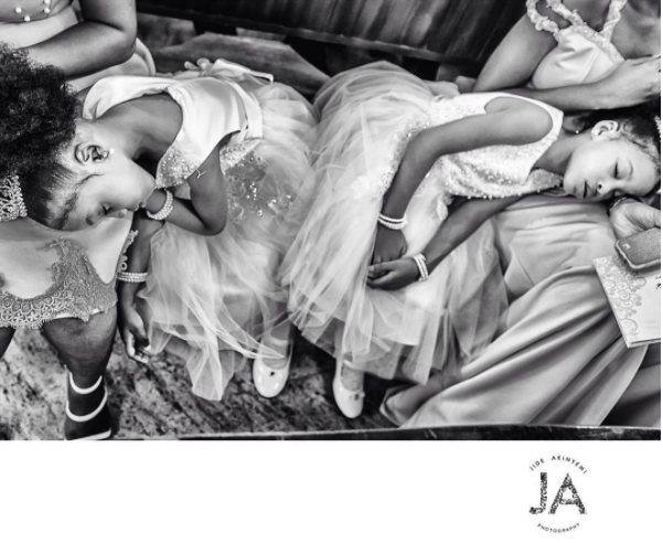 Nigerian Wedding Tired Little Brides asleep Jide Akinyemi Photography LoveWeddingsNG