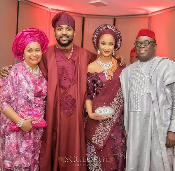 Adesua Etomi Banky W Introduction #BAAD2017 - Couple and grooms parents LoveWeddingsNG