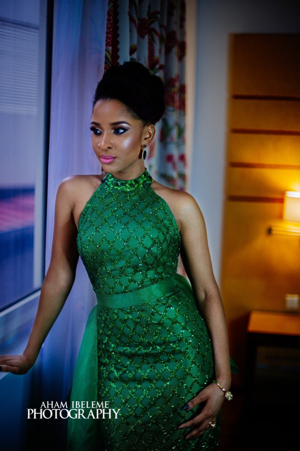 Adesua Etomi Green AMVCA Nigerian Wedding Guest Style Inspiration LoveWeddingsNG