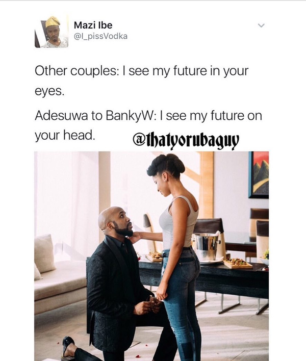 Adesua Etomi and Banky W Engagement Story Memes LoveWeddingsNG Future in your head