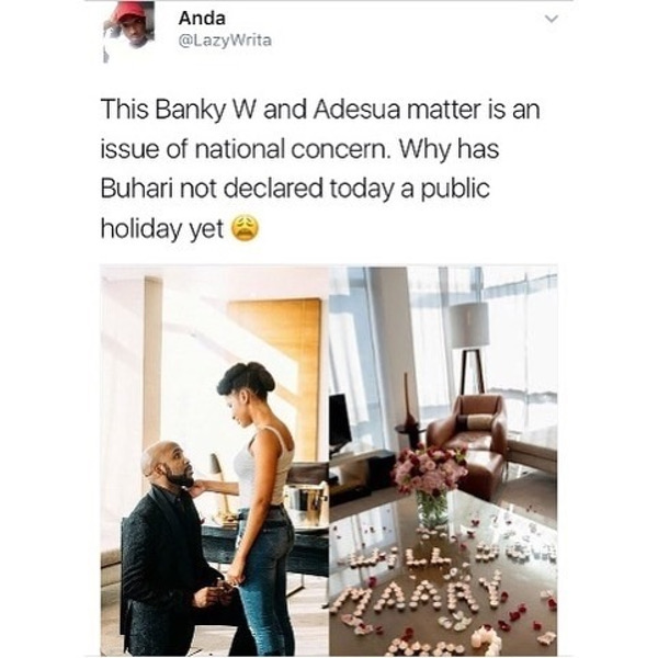 Adesua Etomi and Banky W Engagement Story Memes LoveWeddingsNG Public Holiday