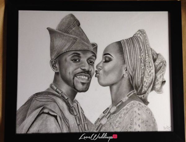 Mimi & Dotun received a custom illustration on their wedding day, courtesy of Mbondu Artworks & LoveWeddingsNG | #LWNGLoveStories