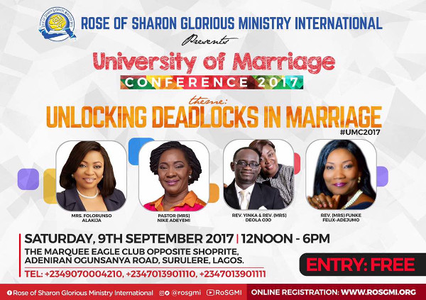 Unlocking Deadlock in Marriages featuring Pastor Nike Adeyemi, Funke Felix – Adejumo and more