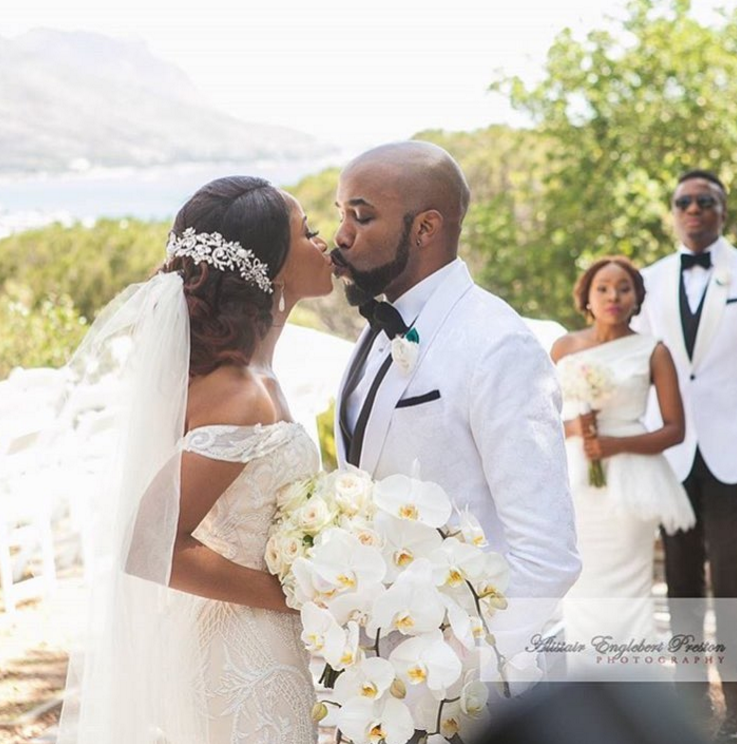 First Photos from Banky Wellington & Adesua Etomi's White Wedding in Cape Town | #BAAD17 The Finale