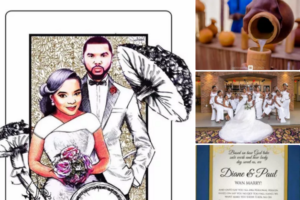 Nigerian Wedding Trends 2017: Joint Couple Instagram Accounts, Bridesmaids in White, Funny Wedding Invites, Grand Wedding Cakes and More