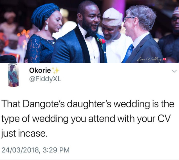 These Tweets about Fatima Dangote & Jamil Abubakar's Wedding will have you in stitches