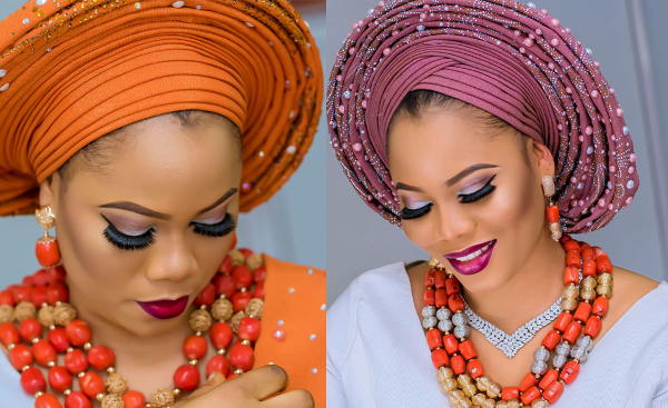 Stoned Aso Oke with two trendy gele styles | Traditional Bridal Inspiration