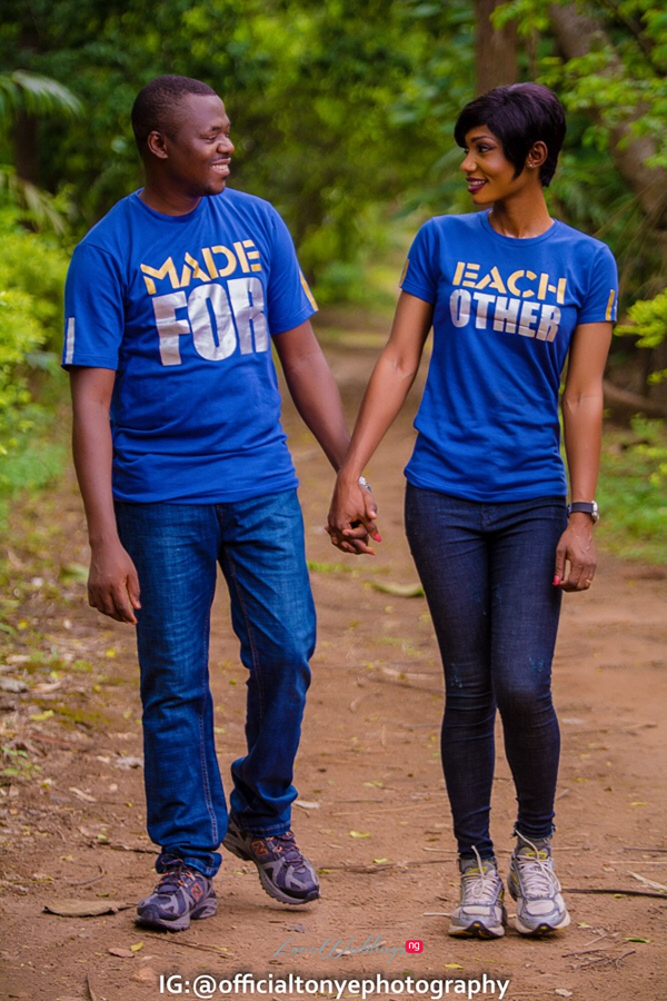 a5992d60746 All the looks at their pre-wedding shoot with Tonye Photography featured  co-ordinated looks from their custom blue and white sweatshirts to their  matching ...