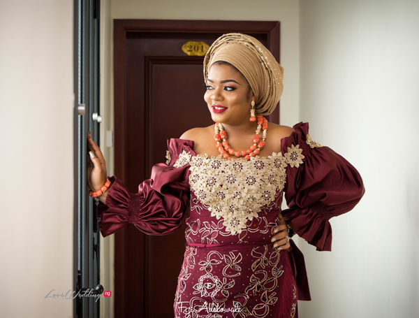 c5b14e01915 Burgundy and champagne gold equals traditional bridal outfit goals