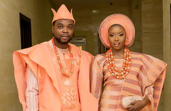 Bukola & Femi's peach & blue traditional wedding | #FablyEverAfter