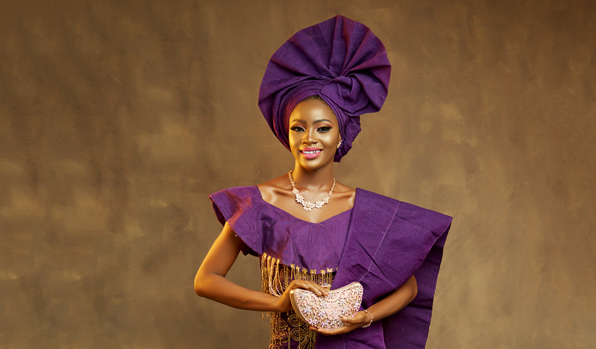 It's raining purple all over this traditional bridal look