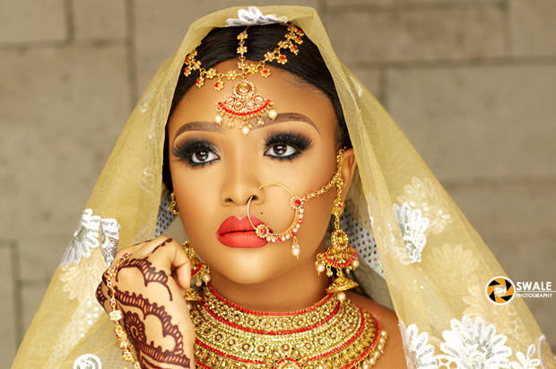 This Indian inspired bridal look is perfect for a Northern Nigerian bride
