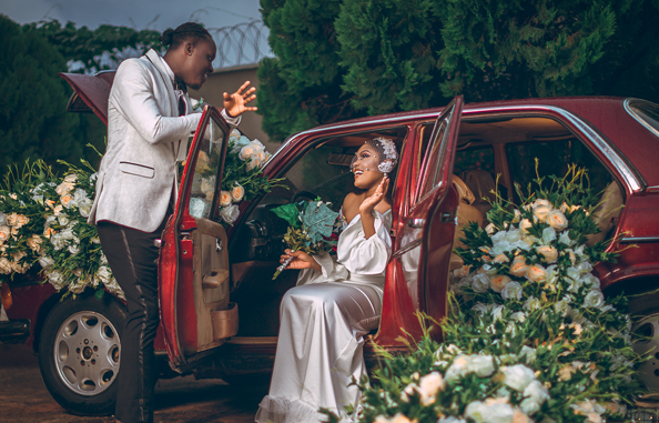 This styled shoot features the floral car booth trend