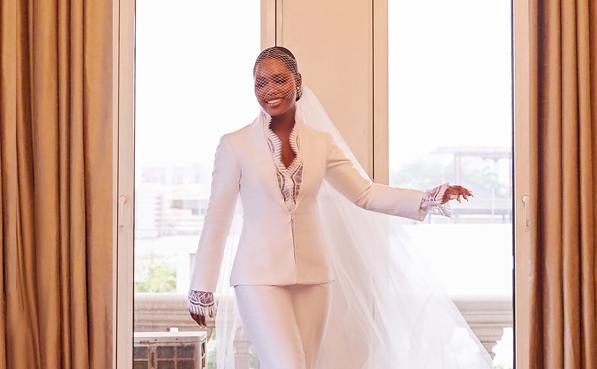 You'll love Seye's bridal pantsuit look to her #SBtheunion civil wedding