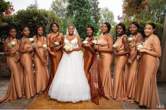 Brown bridesmaids dresses are the latest trend at Nigerian & African weddings